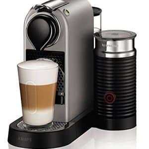 Nespresso Krups Citiz XN760B - Cafetera monodosis de cápsulas Nespresso con aeroccino, compacta, 19 bares, apagado automático, color titán